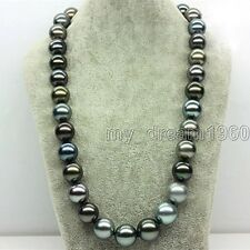 14mm Genuine Multicolor South Sea Shell Pearl Round Beads Necklace 18'' AAA