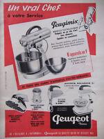 PUBLICITÉ DE PRESSE 1958 PEUGEOT PEUGIMIX 6 APPAREILS EN UN - ADVERTISING