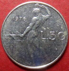 *ITALY, Vintage 1976  50 LIRE COIN from Republica Italiana, NICE Pre-EURO COIN 3