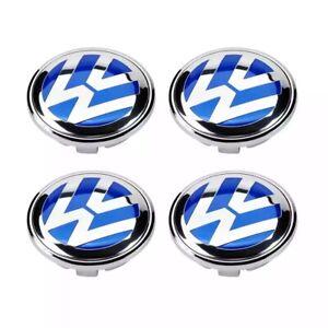 BLUE-4pcs 60mm Car Wheel Center Cap Badge Accessories For Vw Jetta MK5 Golf!!!