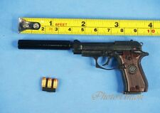 BERETTA GUN PISTOL M84FS Cheetah + Silencer 1:3 Scale Figure Model K1181 D
