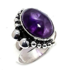 African Amethyst Gemstone Ethnic Handmade Silver Jewelry Ring Size 6.5 PR4182