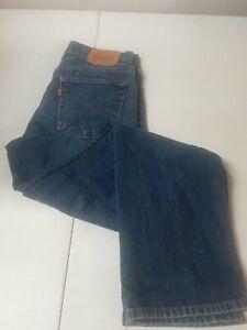 Levis 505 Mens/youth Blue Jeans 16 Slim 26x28 Regular One Belt Loop Torn see pic