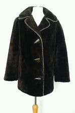 Vintage 1950/60s Astraka of London Brown Borg Faux Fur Coat Size 10-12