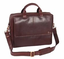 "Genuine Leather Briefcase 15.6"" Laptop Business Executive Shoulder Brown Bag NEW"