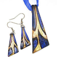 Gold Foil Triangle Lampwork Murano Glass Beads Pendant Ribbon Necklace Cord Set