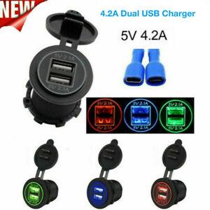 Car Motorcycle Dual USB Port Fast Charger Power Outlet Adapter Socket 12V 24V