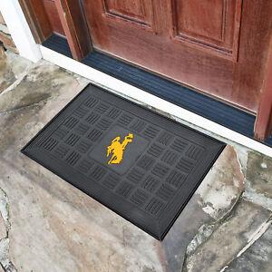 University of Wyoming Medallion Heavy Duty Durable Vinyl Doormat - 3-D logo