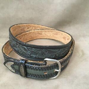 Western Leather Floral Toole Gray Men's Belt Unbranded