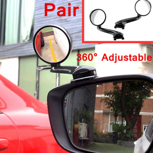 2pc Blind Spot Car Mirror Set Adjustable Rear Side View 360 Wide Angle Round