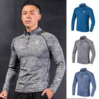 Mens Compression Shirt 1/4 Zipper Mock Neck Top Workout Athletic Gym Long Sleeve