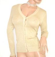 MAGLIETTA donna BEIGE cardigan aperto maglia maniche lunghe bottoni golfino 130