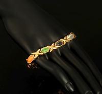 18 karat Armkette Armreif Goldkette 21cm Armband Herren Damen vergoldet Gold