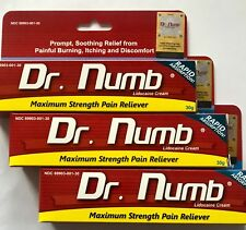 3 x Dr Numb 5% Lidocaine Cream 30 gr Skin Numbing Tattoo/Removal Wax Exp. 7/2021