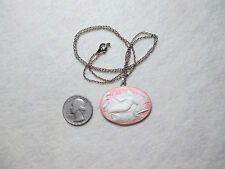 Mermaid Cameo Necklace, Handmade, New, Ivory on Peach, Unique, Lovely (Last One)