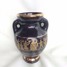 VINTAGE Terra Hand Made Sterling Gold Hellas GOLD & BLACK HAND MADE VASE