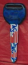 HD-103 CAR KEY BLANK STARS AND STRIPES PRINT PLASTIC TOP