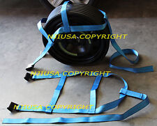 Demco Car tire Basket Straps Adjustable Tow Dolly Wheel Net Set Flat Hook Bluex2