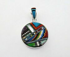 HANDCRAFTED MULTICOLOR INLAY 925 STERLING SILVER PENDANT