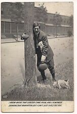 Rppc Postcard Jack Russell Terrier Dog Comic Man Holding Pole Humor 1911