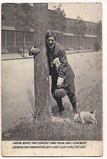RPPC Postcard JACK RUSSELL TERRIER Dog Comic MAN HOLDING POLE Humor 1911