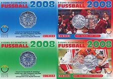 Österreich 5 Euro 2008 Silber Fussball 2x Miniblister