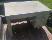 000 Vintage Mid Century Cole Steel Metal Office Desk 3 Drawer