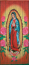 Kitsch Kitchen Türvorhang Bambus Bambusvorhang Madonna Guadalupe Rosen 90 x 200