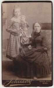 CDV Girl Holding CREEPY DOLL with Mother - SIOUX CITY IOWA - Tall Bisque Doll