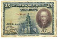Spain Papermoney, P-74b 25 Pesetas 1928 Circulated Banknote