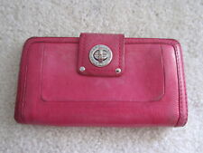 Marc Jacobs PINK Turnlock USED Bifold Large Checkbook Wallet Bag Purse Leather