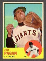 1963 Topps Baseball #545 Jose Pagan San Francisco Giants - 7th Series