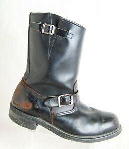 Vintage Made in USA Men's 10.5 M Leather Engineer Biker Boots Black