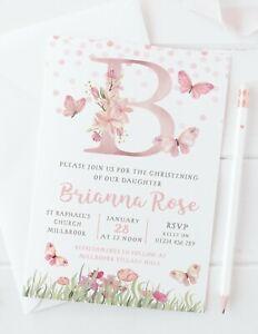 10 PERSONALISED GIRLS CHRISTENING INVITATIONS - PRETTY PINK BUTTERFLIES