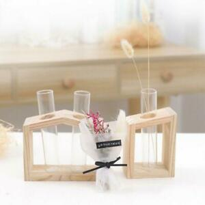 UK Vase Wooden Stand Flower Pots Hydroponic Plant  1/2/3 Crystal Glass Test Tube