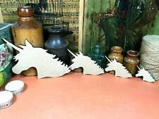 WOODEN MDF UNICORN HEAD SHAPES (x4) 15cm to 5cm fairytale wood shape craft gift