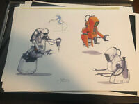 Star Wars Production Used Concept Art Print  Lucasfilm Power Droid Jake Lunt