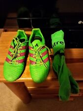 Adidas Green Pink Men/Boys Sz 6 Girls/Women Size 7 Indoor Soccer Shoes EUC