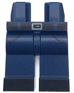 Lego New Minifig Hips Legs Black Belt Shoes Silver Buckle Pocket Dark Blue Pants