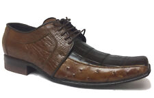 Mens Brown Genuine Ostrich Crocodile Leather Belly Smooth Dress Shoe Size 6