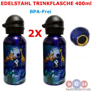 Kinder-Trinkflasche 2 X  Aluflasche Tiger Panda Tiermotiv Edelstahl 400ml
