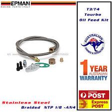 T3 T4 Turbo Braided Oil Feed Line Kit NTP 1/8 AN4 Adapter T04e T60 T70 GT EPMAN
