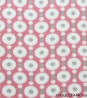Blizzard White & Gray Dots on Dots Pink Fleece Fabric-BTY