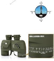 Waterproof 10x50 HD Binocular Night Vision Rangefinder Telescope&Compass Sports