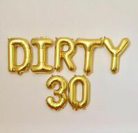Dirty 30 Birthday Foil Balloons Party Decorations Functions Gold Silver 30th new