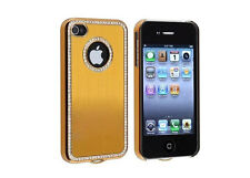Apple iPhone 4 4S 4G Gold Chrome Bling Diamond Gem Luxury Hard Case Cover Skin