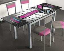 Mesa de cocina extensible 110x75x70 cm gris con serigrafiado 5ª Avenida cristal