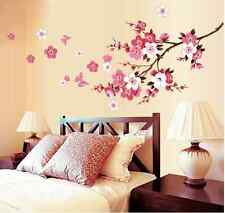 Peach Branch Pink Flower Butterfly Wall Decals Sticker Mural Home Art Decor