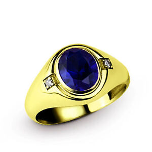 Blue Sapphire Diamond Accents All Size Rings 14k Solid Yellow Gold Ring For Men