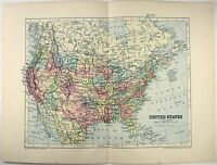 Original 1895 Map of the United States by  W & A.K. Johnston. USA. Antique